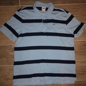 Men LACOSTE Striped Knit 3 Button Polo Shirt Sz. 7